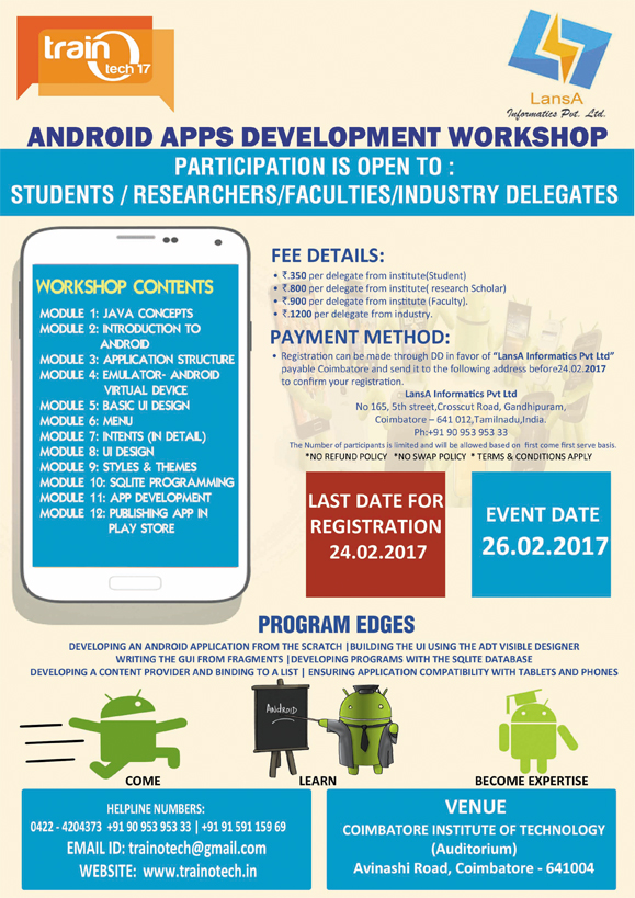 Android Apps Development workshop in Coimbatore –AADW'17