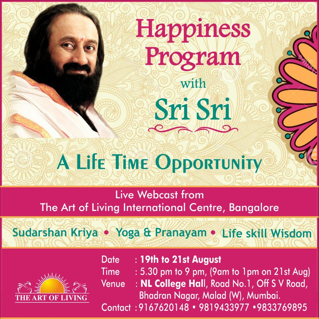 Happiness Program with H.H.Sri Sri Ravi Shankar